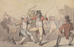 A true Regency gentleman would not behave like a blackleg (gambler) caught hiding cards (Thomas Rowlandson, undated engraving; Source: Wikimedia Commons)