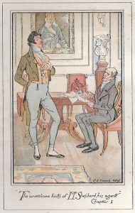Image of Sir Walter Elliot and his agent in Austen's novel Persuasion (Wikimedia Commons [PD=1923])