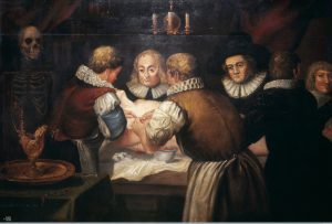Surgeons performing an operation on a woman's breast in the Credit: Wellcome Library, London, image #L0048608, CC BY 4.0)