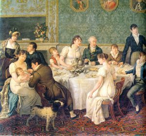 There was ample room for a dozen dishes at the family table, as in this 1807 painting (Source: Wikimedia Commons)