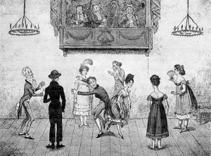 "For all his faults, Mr. Darcy would not be as clumsy on the dance floor as this gentleman! Note: The artist shows the ladies' skirts higher than they would have been--an old caricaturist's trick, apparently. The image is an 1817 engraving by George Cruikshank titled ""Dos a Dos: Accidents in Quadrille-dancing."" (Source: Wikimedia Commons PD-1923"