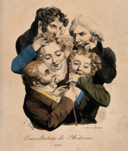 Boilly: a group of young, fashionable doctors, 1823