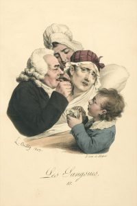 A medical practitioner administers leeches (Boilly, 1827) (Source: Wellcome Library image #L0041637 CC BY 4.0)