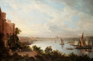 A prospect of London, showing the Adelphi buildings to the left of the Waterloo Bridge, 1826 (Wikimedia Commons)