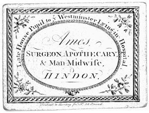 Advertisement for Mr. Ames, a surgeon, apothecary, and man-midwife