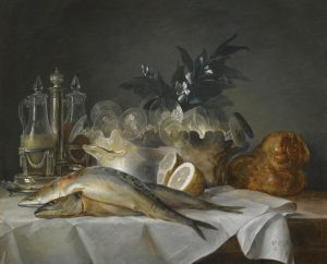 A still life of mackerel and glassware by Anne Vallayer-Coster, 1787 (Source: Wikimedia Commons [PD-1923])