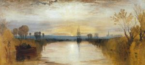 Chichester Canal (1828), painted by J.M.W. Turner, may have captured the spectacular sunsets following the eruption of Mt. Tambora (Wikimedia Commons)