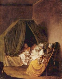 Gossips sitting with a young woman and her new baby (Source: Wikimedia Commons)
