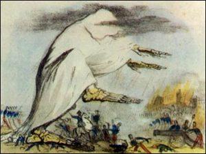 A representation of the cholera epidemic, 1831 (Source: Wikimedia Commons)