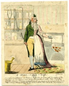 Isaac Cruikshank's print titled A Man-Mid-Wife, published in 1793