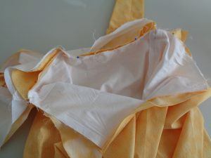 Pinning the bodice to the skirt (© 2015 D.H. Morris)