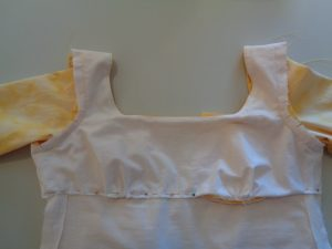 Hand stitching the bodice (© 2015 D.H. Morris)