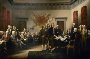 John Trumbull's painting depicting the five-man committee charged with drafting the Declaration of Independence, 1776 (Source: Wikimedia Commons)