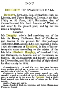 Entry for Doughty in Burke's A Geneaological and Heraldic Dictionary of the Landed Gentry, 1847