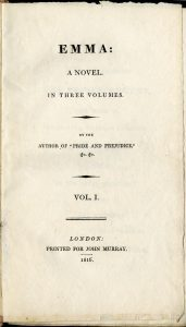 Title page of Jane Austen's novel Emma (Source: Wikimedia Commons [PD=1923])