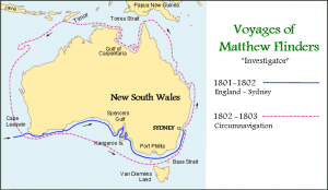 Map of Matthew Flinders Travels around Australia (Source: Wikimedia Commons)