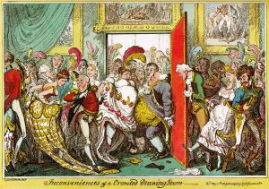 Quite a few ostrich feathers are seen in this 1818 satirical print by George Cruikshank (Source: Wikimedia Commons)