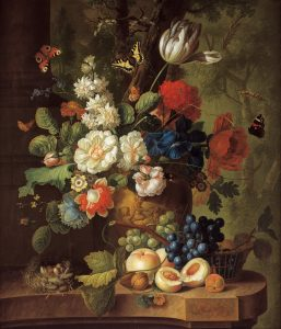 Flowers and butterflies by the Dutch painter Jan van Os (c. 1780's ?) (Source: Wikimedia Commons)