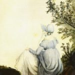 Watercolor of Jane Austen by Cassandra, c. 1804