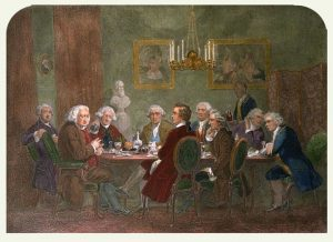 A literary party at Joshua Reynold's house (Source: Wikimedia Commons)