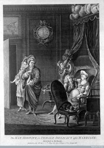 A male-midwife suggestively examines an attractive pregnant woman while a servant escorts the disgruntled husband from the room (c. 1773)