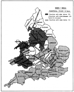 Death rates from childbed fever between 1885 and 1894 in England and Wales (Source: Loudon, 1986)
