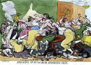 """Breaking up the Bluestocking Club"" by Thomas Rowlandson, 1815"