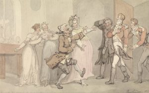 A true Regency gentleman would not be so ill-behaved as to show jealousy, rage or disappointment (Caricaturist: Thomas Rowlandson, 1814; Source: Wikimedia Commons)