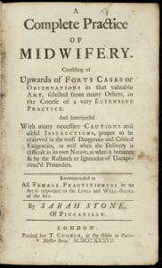"Title page to Sarah Stone's ""small treatise"" on midwifery, published in 1737"