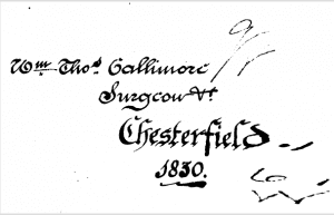 Signature of Mr. Gallimore found in Smith's book on Dr. Willan's writings, published in 1821