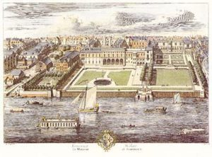 Somerset House by Jan Kip, 1722 (Source: Wikimedia Commons)