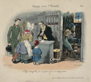 A couple buys some narcotics from an apothecary whose assistant, Death, works with a pestle and mortar in the back room. The caption reads: 'Don't worry, I have an assistant who never gets it wrong'.(Source: Wellcome Library, London, image # V0011779 Wikimedia Commons CC BY 4.0)