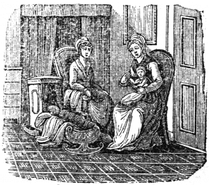 Women with a newborn infant, 1825 (Source: Wikimedia Commons)