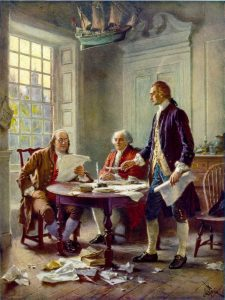 Drafting the Declaration of Independence, 1776: Benjamin Franklin, John Adams, and Thomas Jefferson (Source: Wikimedia Commons)