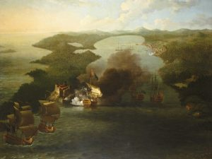 Bombardment of Porto Bello, Panama, c. 1772, by Samuel Scott. (Wikimedia Commons)