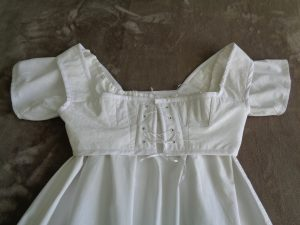 The end product: my own Regency chemise and short stays (© D.H. Morris 2015)