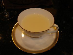 A cup of homemade white caudle (© 2015 Diane H. Morris) (Source of recipe: Foods of England)