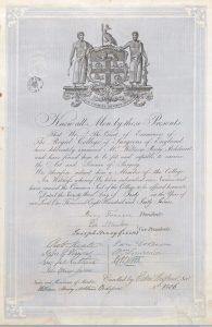 A diploma from the Royal College of Surgeons for W. H. Ackland, 1847 (Source: Wellcome Library, London, #L0044154) (CC BY 4.0)