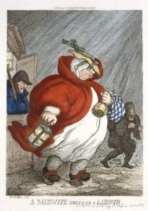 """Thomas Rowlandson's satirical print titled """"A Midwife going to Labour"""" (1811)"""