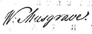 W. Musgrave's signature, c. 1789
